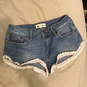 Crochet trim jean shorts